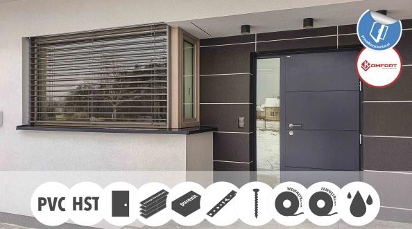 Stolarka PVC firmy Vetrex, żaluzje fasadowe Selt, drzwi Parmax oraz brama garażowa Wiśniowski.