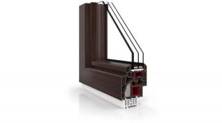 Okna PCV Vetrex VR90 Synergy Mahoń